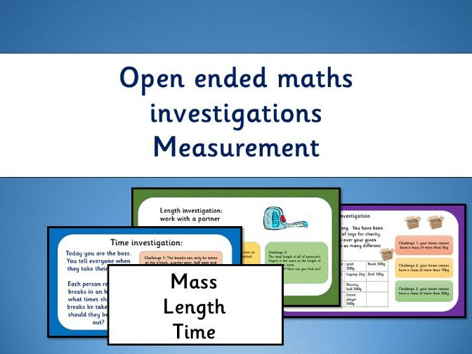 3 open ended maths measurement investigations: length, mass, time - year 2