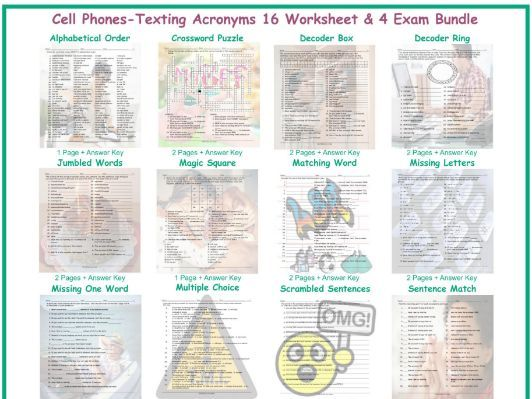 Cell Phones-Texting Acronyms 16 Worksheet- 4 Exam Bundle