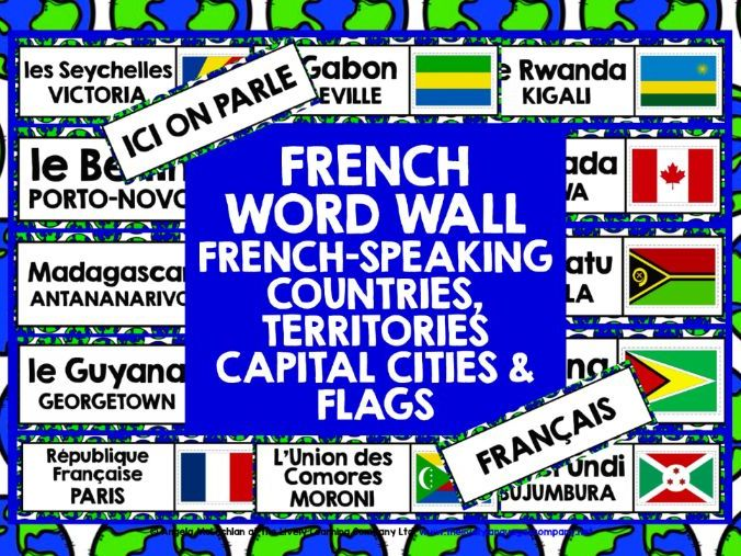 PRIMARY FRENCH FRENCH-SPEAKING COUNTRIES WORD WALL