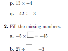 Multiplying and dividing integers worksheets (with answers)