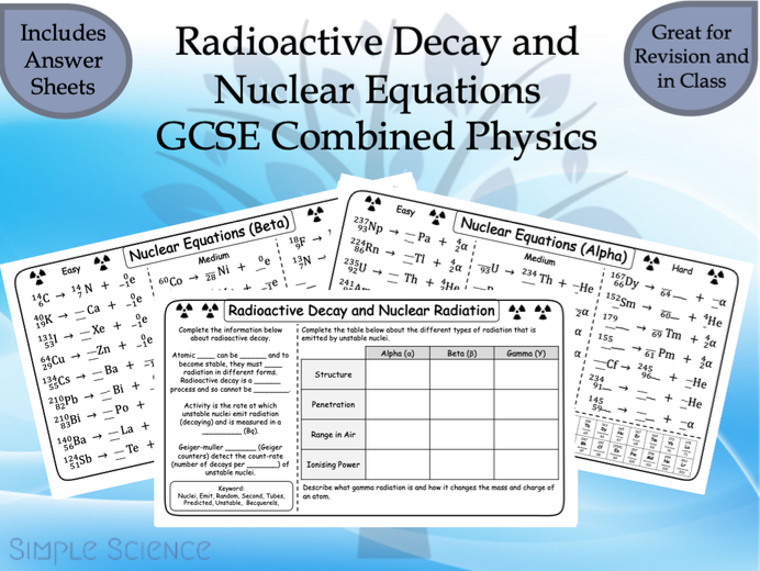 GCSE Physics - Radioactive Decay and Nuclear Equations Worksheets