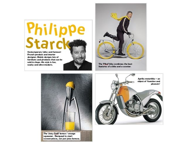 Wall Display - Design Technology -  Philippe Starck best designs - 20 x A3 posters