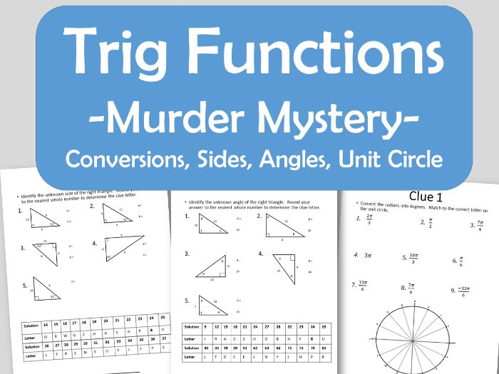 Trig Function Murder Mystery - Unknown Sides/Angles, Unit Circle ...