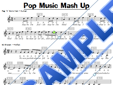 Pop Music Mash Up KS3 Keyboard Sheet Music (Ed Sheeran, Taylor Swift, Ariana Grande)