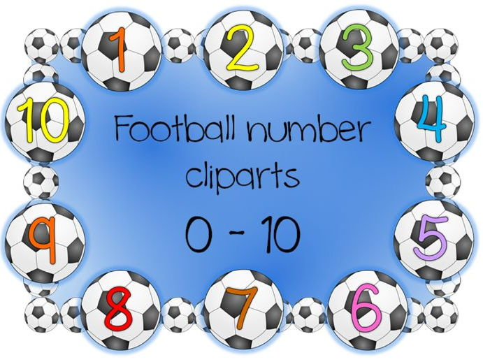 Numbers 0 to 10, football clipart
