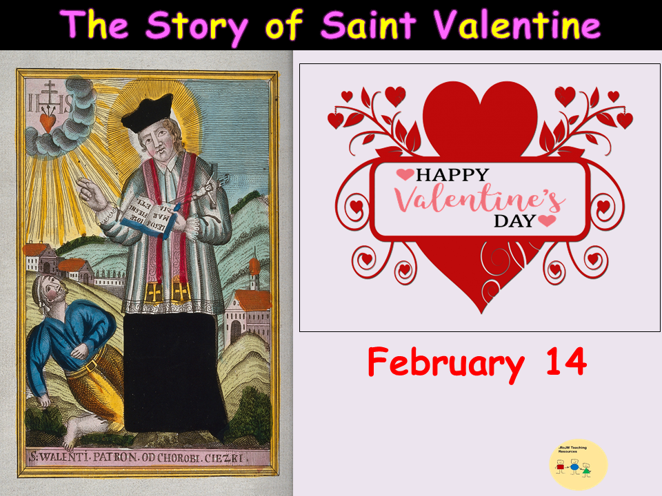 St Valentine Lesson/Assembly Presentation (22 Slides), Worksheets, Word Searches, Teacher Notes KS1