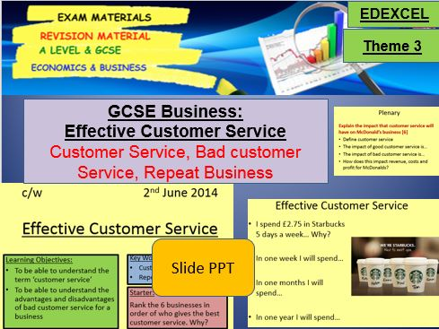 Effective Customer Service: GCSE Business, A Level Business