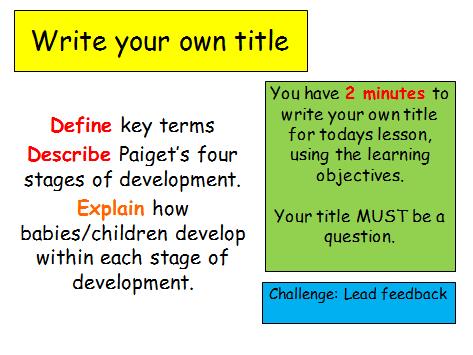 Edexcel Psychology (9-1) GCSE New Spec Unit 2 Lesson 2 - Piagets stages of Cognitive Development