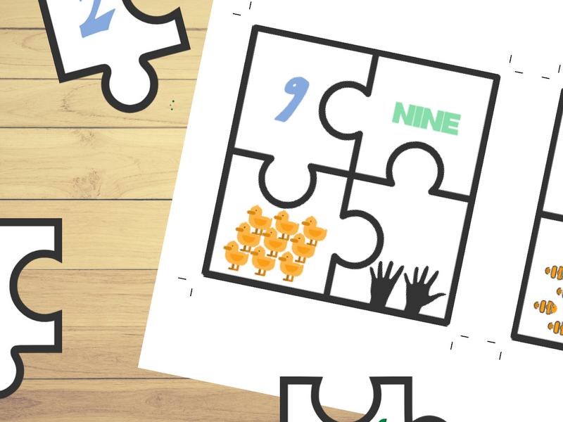 Animal Numbers Puzzles 1 to 10⎜ Number Match Game ⎜Number Recognition and Counting⎜Printable Puzzles