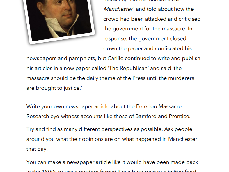 The Peterloo Massacre - Homework