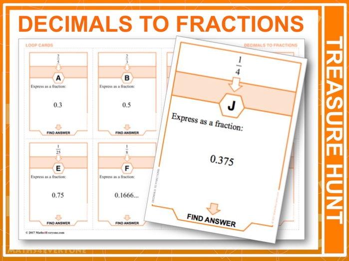 Decimals to Fractions 1 (Treasure Hunt)