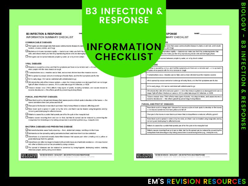 B3 Infection & Response [Information Checklist]