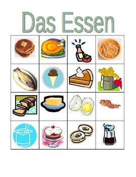 Essen (Food in German) Bingo