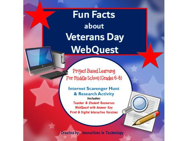 Learning about Veterans Day - WebQuest / Internet Scavenger Hunt