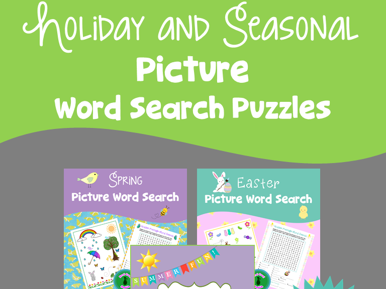 Holiday and Seasonal Picture Word Search Bundle