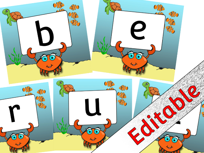Sea Animal/Creature themed Alphabet Posters/Flashcards/Display - Editable