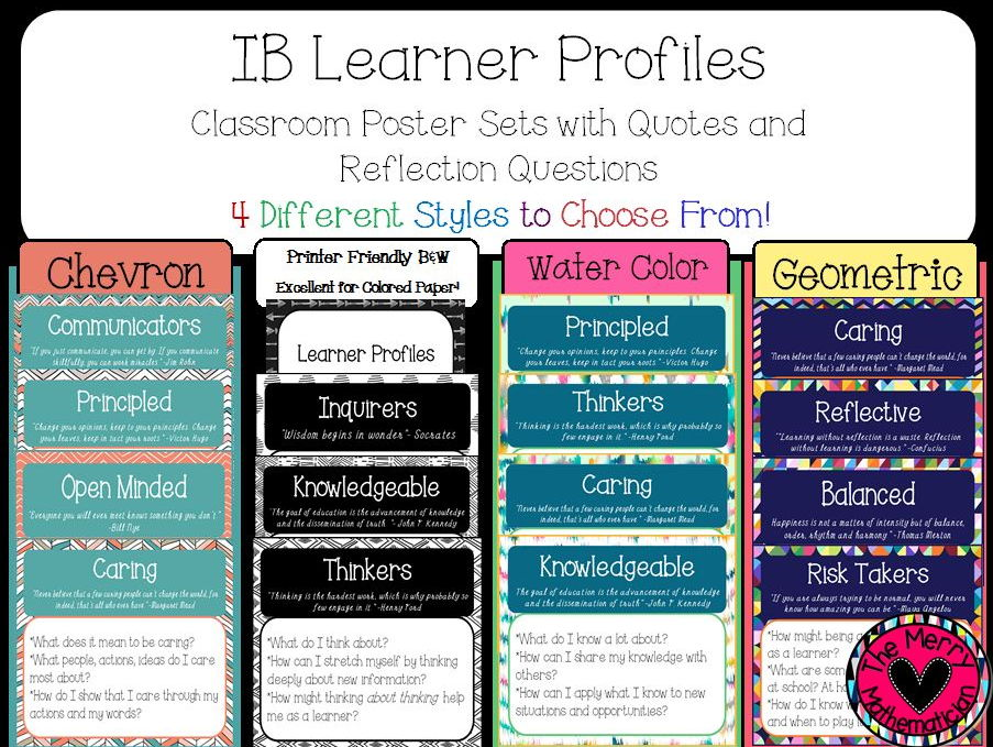 Learner Profiles Posters with Quotes and Reflection Questions