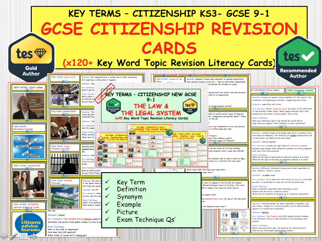 120+ Revision Topic Cards for the NEW GCSE CITIZENSHIP 9-1