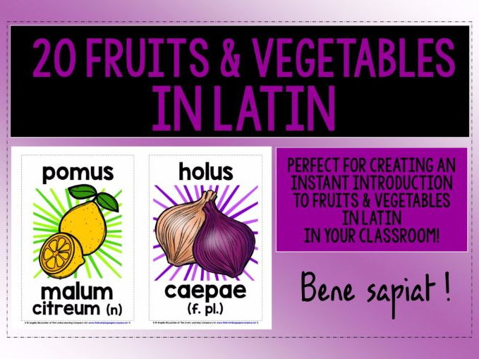 PRIMARY LATIN - 20 FRUITS & VEGETABLES DISPLAY POSTERS / FLASHCARDS