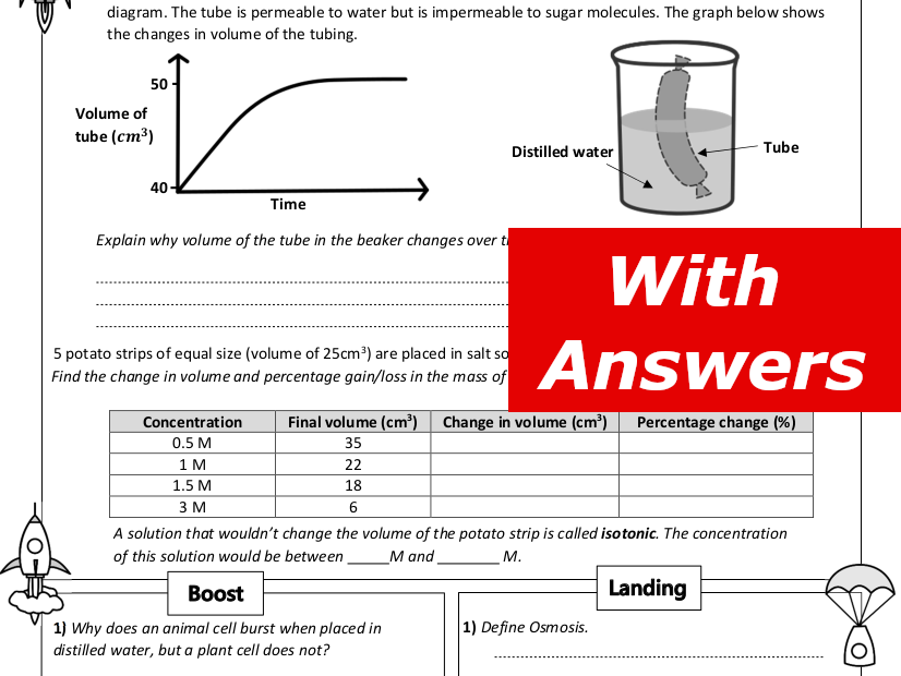 Osmosis Home Learning Worksheet GCSE