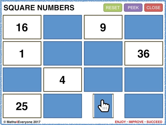 Square Numbers (Interactive PowerPoint Game)