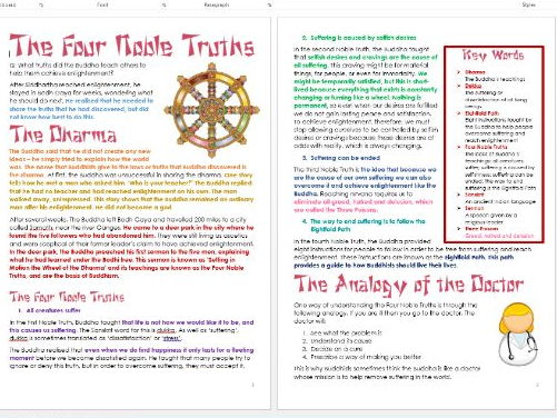 Buddhism: Four Noble Truths: Differentiated Information and Activity Sheets