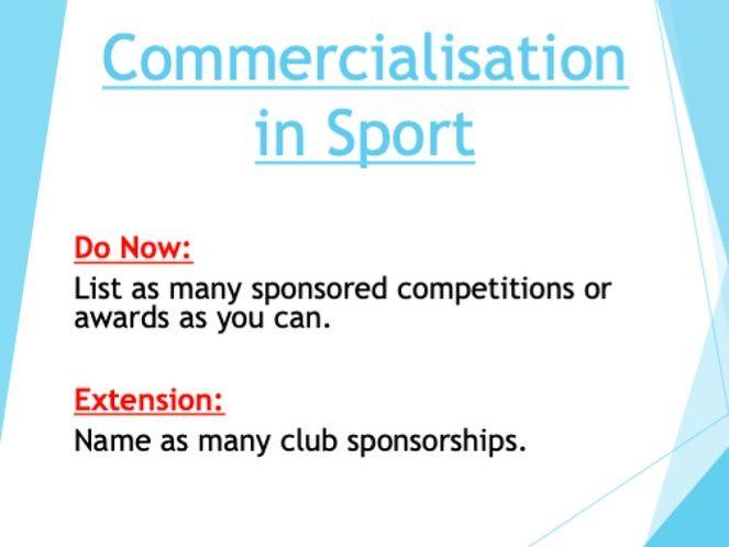 GCSE PE: Socio-Cultural Influences, Commercialisation in Sport(Component 2)