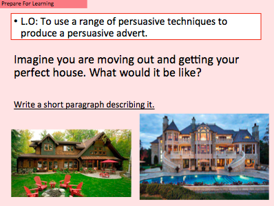 Selling Houses - Persuasive writing using AFOREST techniques