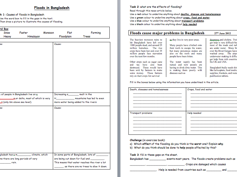 Bangladesh flooding worksheet (KS3)