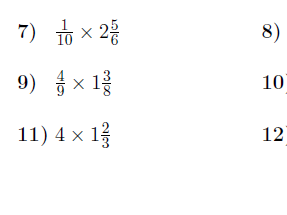 Multiplying mixed numbers by fractions and whole numbers worksheet (with solutions)