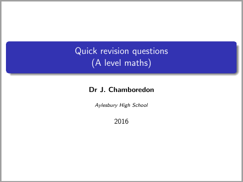 Maths A level revision questions