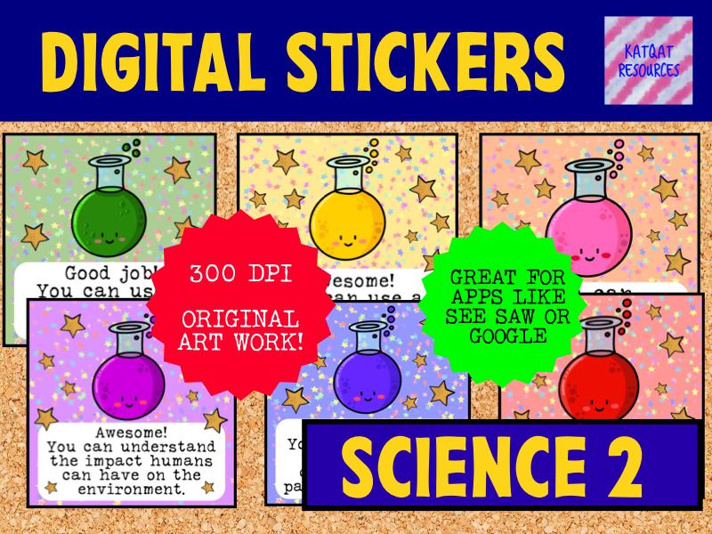 Digital Reward Virtual Teacher Stickers Star - Science - Marking 2