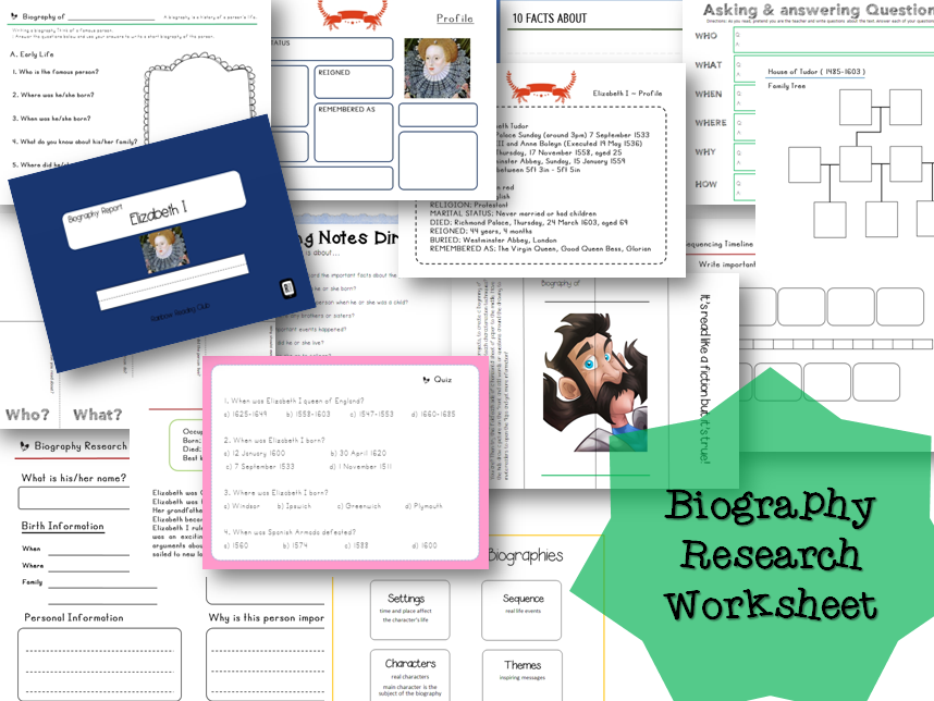 Biography Research Report / Elizabeth I Quiz & Biography worksheet