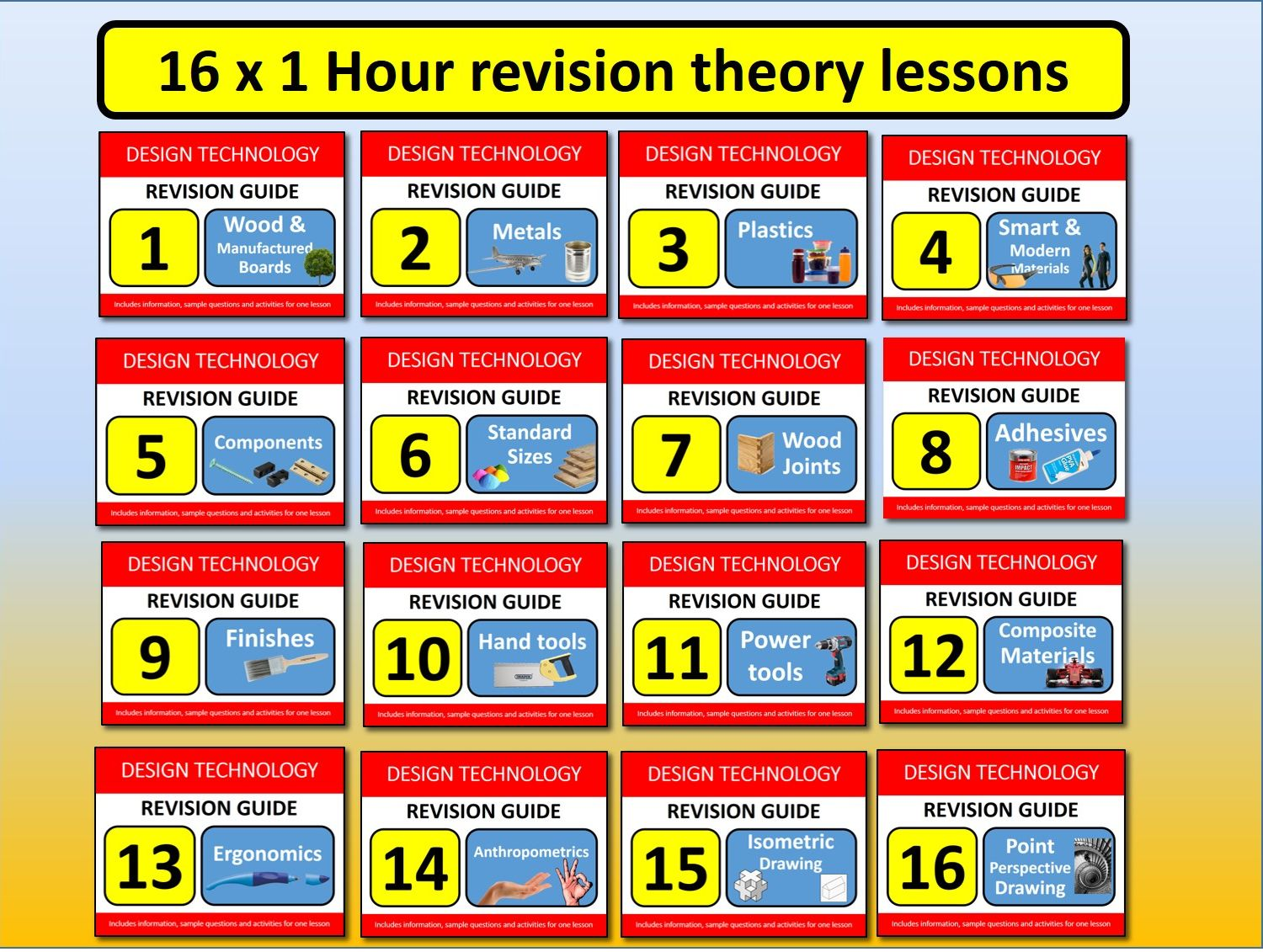 16 x 1 hour GCSE Design Resistant Materials Revision Lessons Exam Questions Tools etc