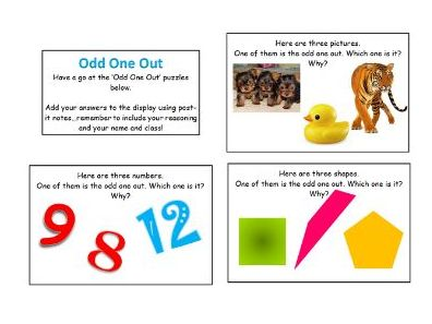 Maths Odd One Out Reasoning Display or Staff CPD Activity