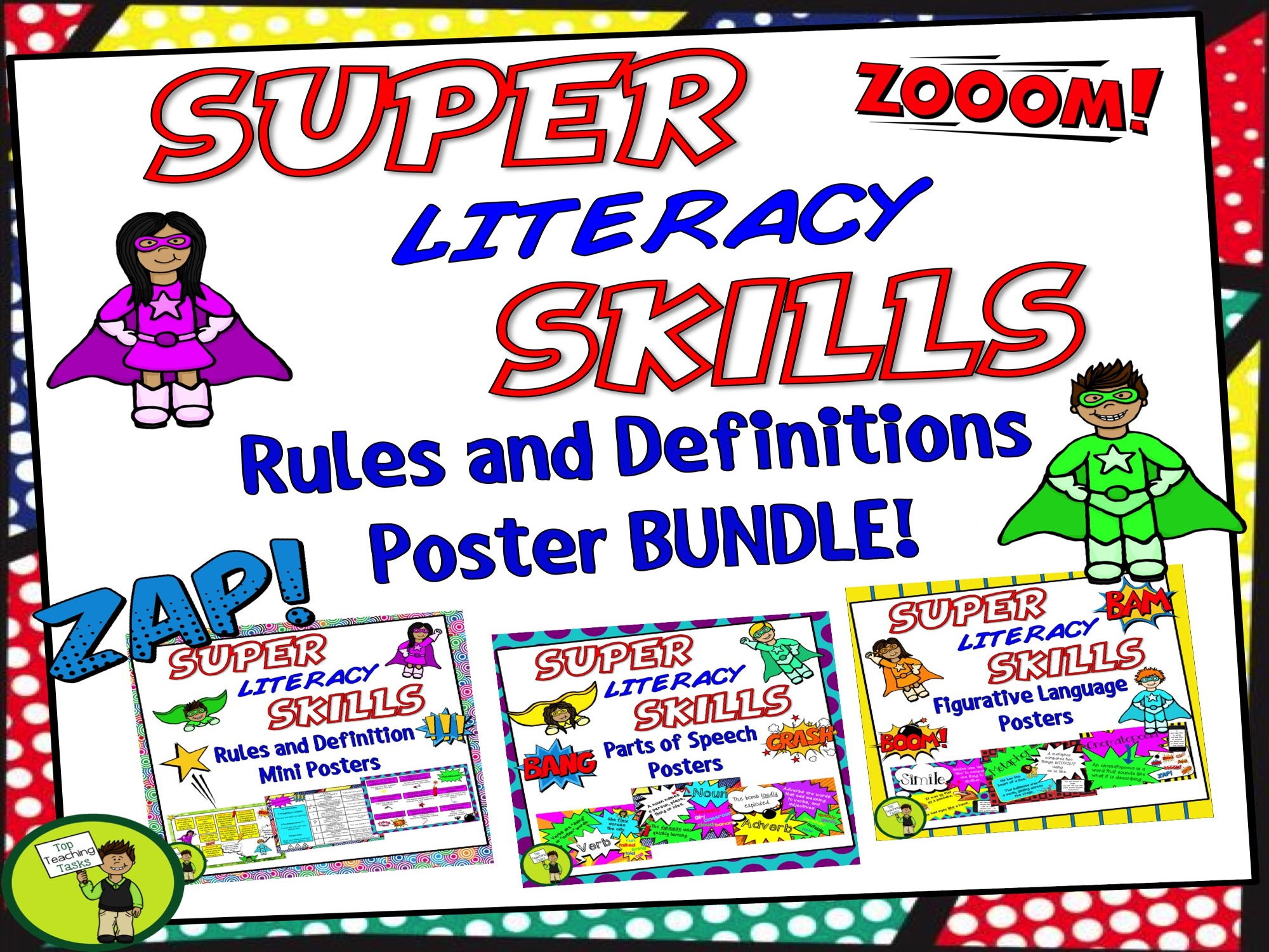 Literacy Skills Rules and Definitions Poster Bundle