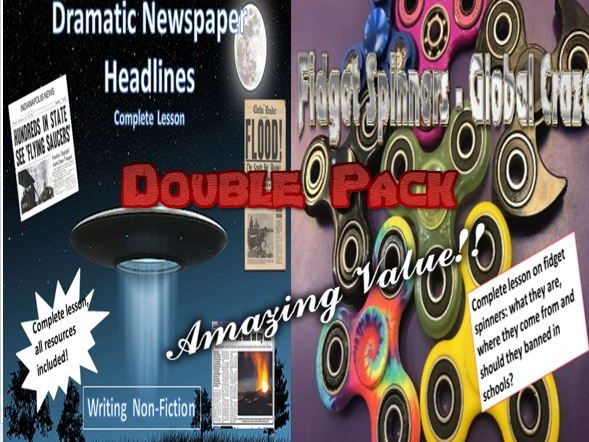 Dramatic Newspaper Headlines and Fidget Spinners Double Pack with Starters