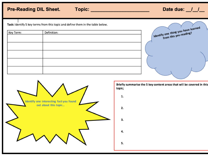 A-Level Topic Pre-Reading Sheet