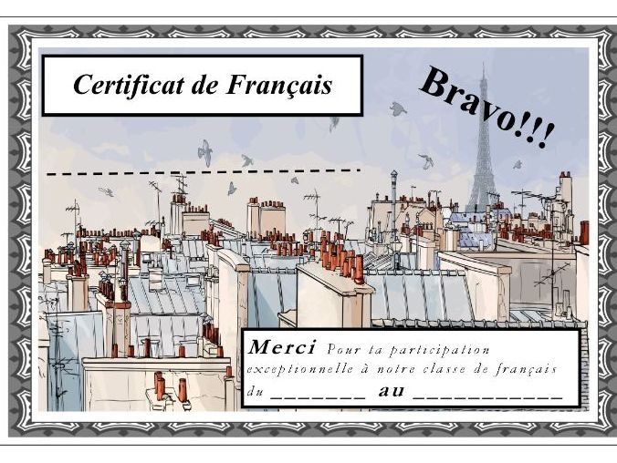 General French certificate 19/ Certificat de francais 19