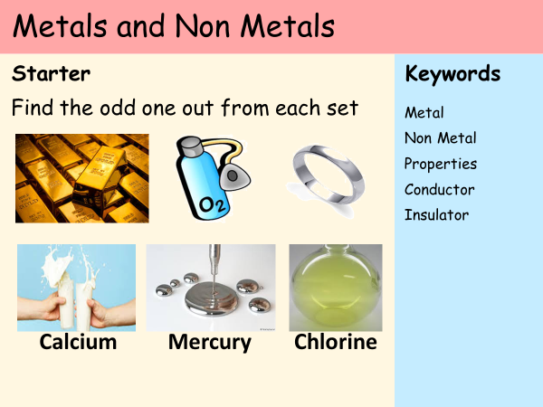 KS3 Atoms - Lesson 6 - Metals and Non Metals