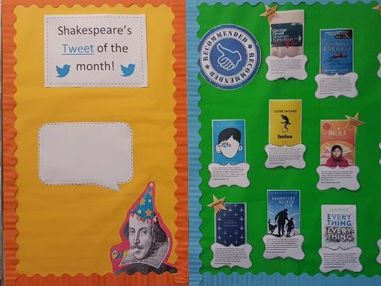 Shakespeare's 'tweet a month' display for KS3/4 English classroom