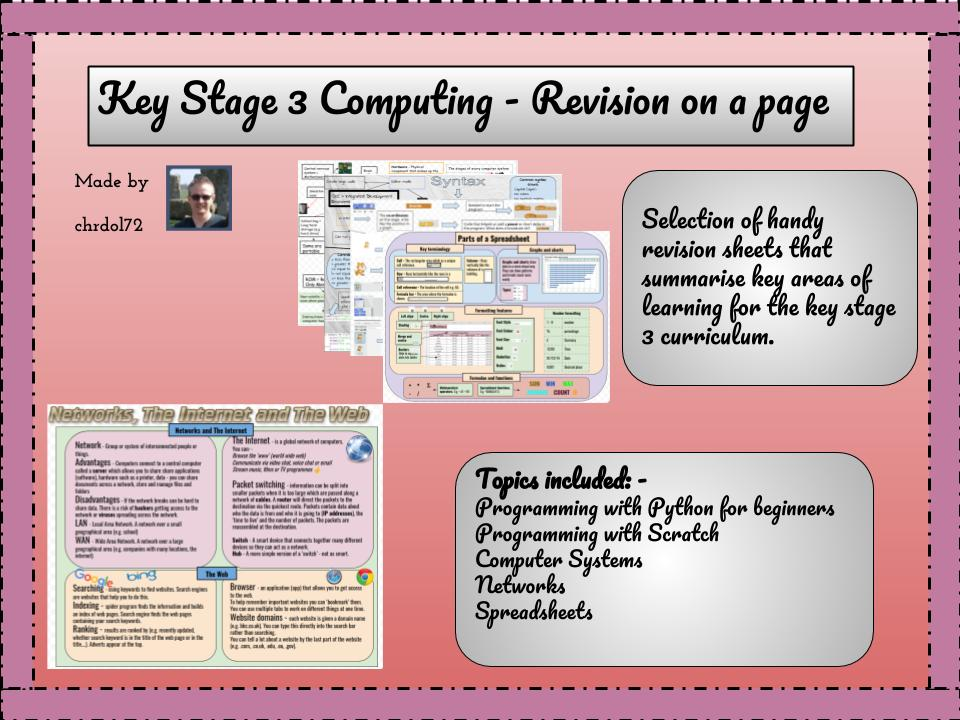 KS3 Computing: Revision on a page
