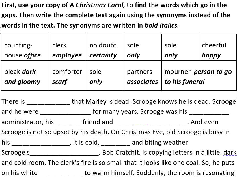 A Christmas Carol - activity booklet with focus on developing vocabulary and knowledge of grammar