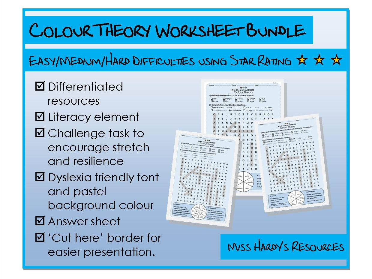 Art&Design - Colour Theory Worksheets Bundle - Easy/Medium/Hard Difficulty
