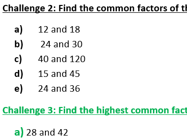 Factors, Common Factors, Highest Common Factor (differentiated, with answers)