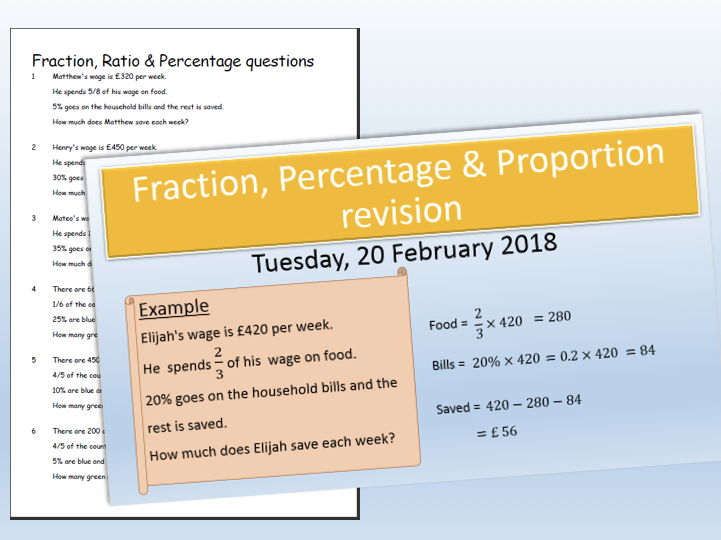Fractions, Proportion & percentage questions