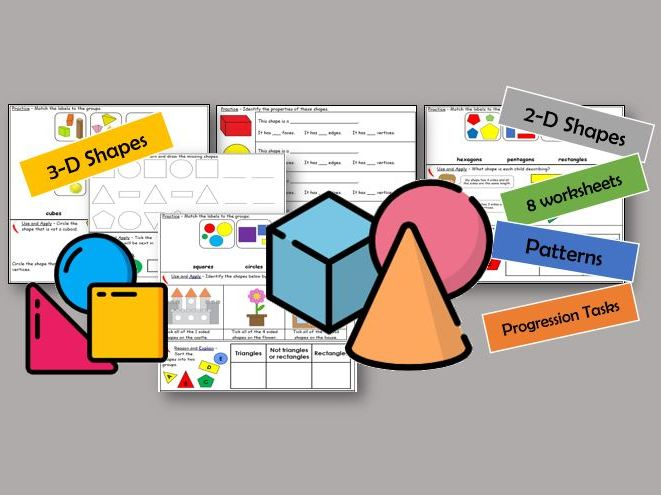 Y1 Maths - Shape and Patterns *8 worksheets*
