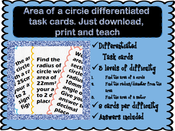 Differentiated Area of a circle task cards