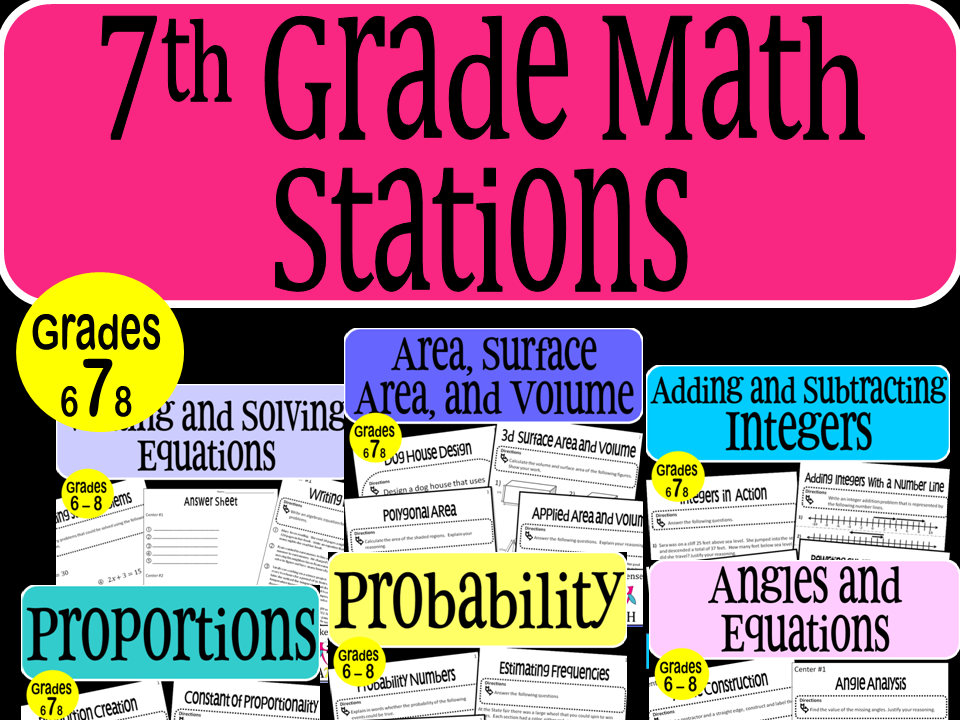 7th Grade Math Stations Bundle