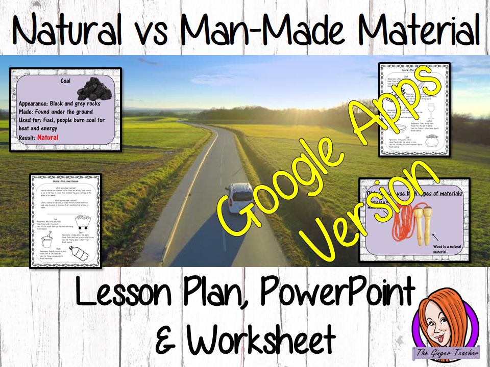 Distance Learning Natural vs. Man-Made Materials Google Slides Lesson